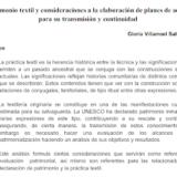 Patrimonio textil y consideraciones a la elaboración de planes de acción para su transmisión y continuidad – Gloria Villarroel